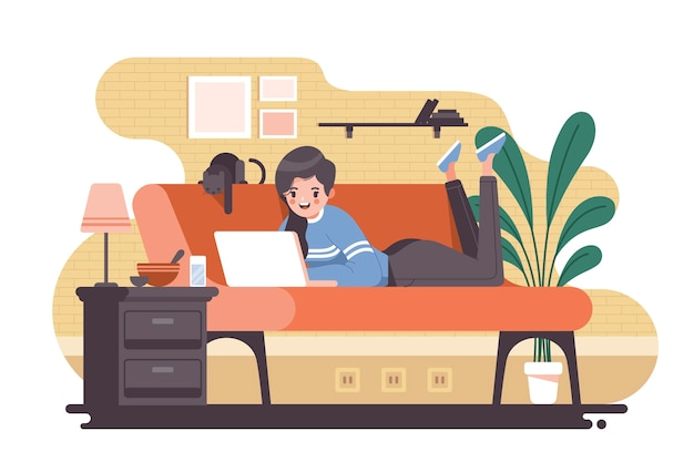 Pessoa que relaxa em casa ilustração Vetor grátis