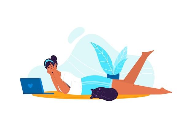 Pessoa que relaxa em casa tema para ilustração Vetor grátis