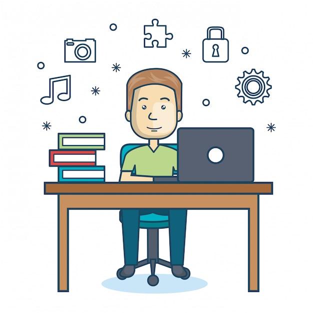 Pessoa que trabalha ícone do escritório Vetor Premium