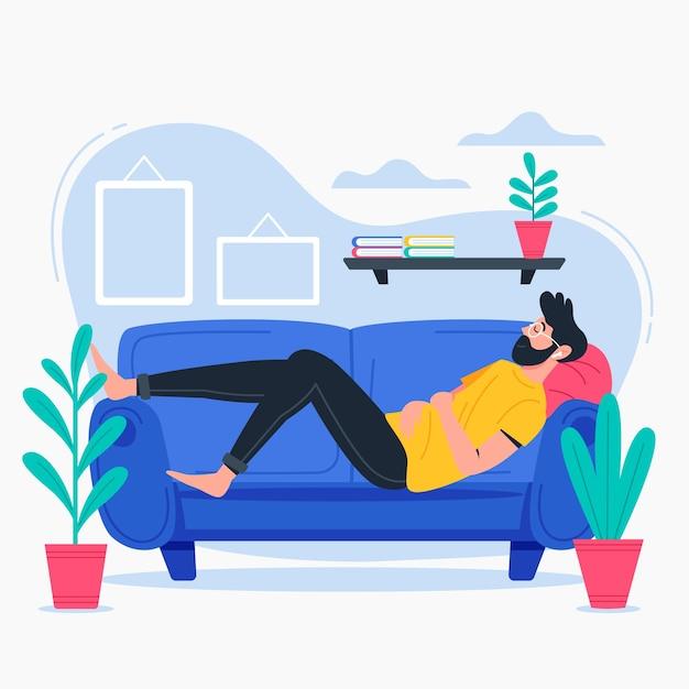 Pessoa relaxando em casa Vetor grátis