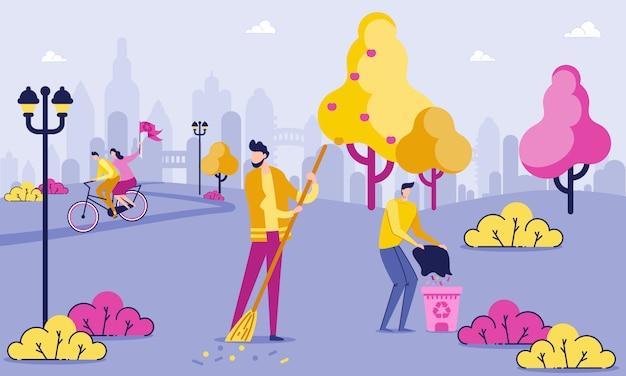 Pessoa, varrendo, folhas, homem, pôr, lixo, em, bin. Vetor Premium