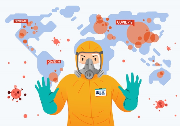 Pessoa vestindo traje de proteção e mapa-múndi como pano de fundo com o vírus da contagiosidade em todo o mundo Vetor Premium