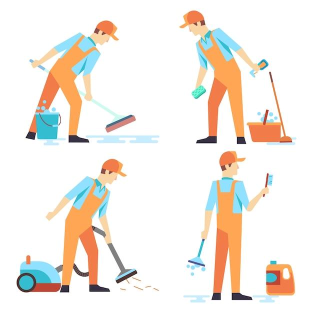 Pessoal de homens plana de serviço de limpeza isolado no branco Vetor Premium
