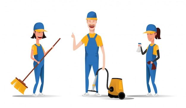 Pessoal de serviço de limpeza que sorri os personagens de desenhos animados isolados no fundo branco. homens e mulheres vestidos em ilustração uniforme em um estilo simples. empregadas bonitinha e alegres e conceito de limpeza. Vetor Premium