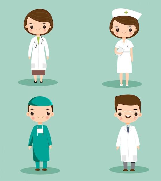 Pessoal médico bonito no conjunto de caracteres de desenhos animados do hospital Vetor Premium