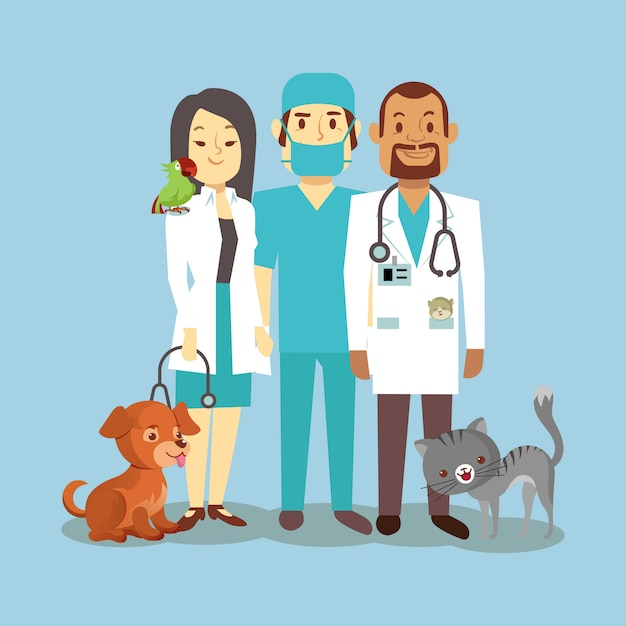 Pessoal veterinário com bichinhos fofos isolado em azul Vetor Premium