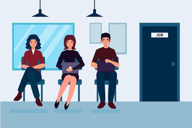 Pessoas à espera de uma entrevista de emprego Vetor grátis