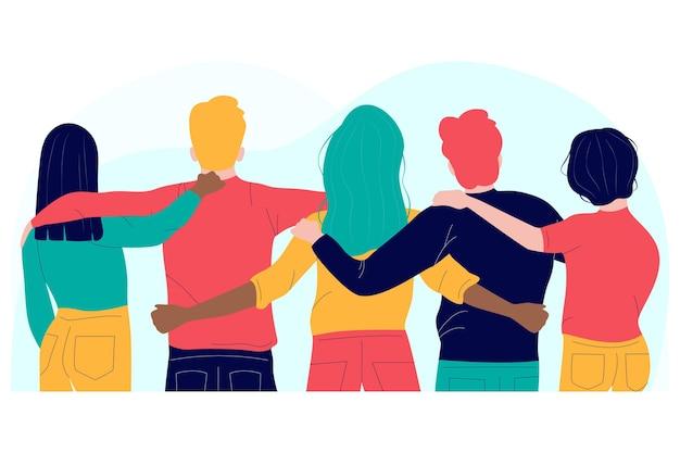 Pessoas abraçando design plano Vetor grátis
