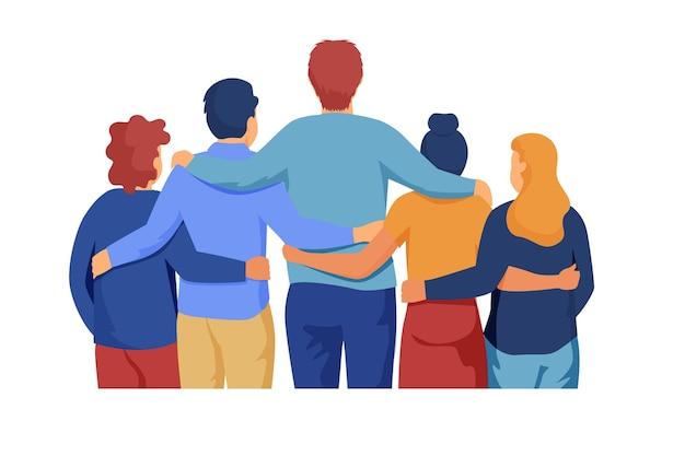 Pessoas abraçando juntos evento dia da juventude Vetor grátis