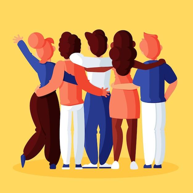 Pessoas abraçando no conceito de dia da juventude Vetor grátis
