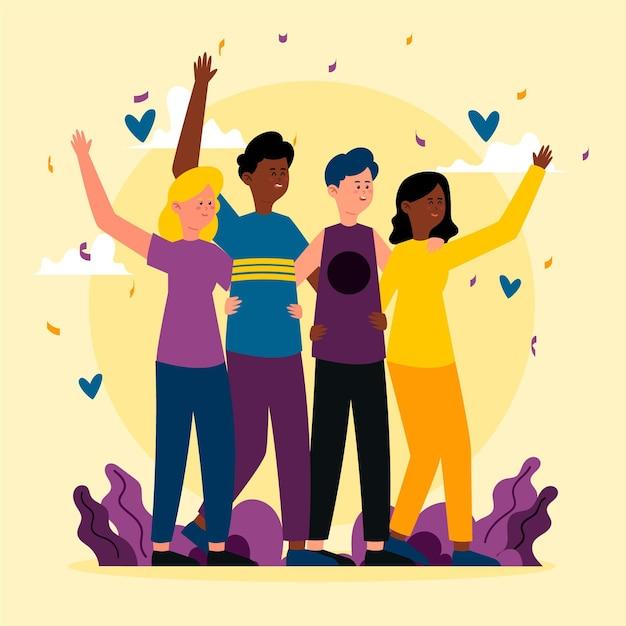 Pessoas abraçando no dia da juventude Vetor grátis