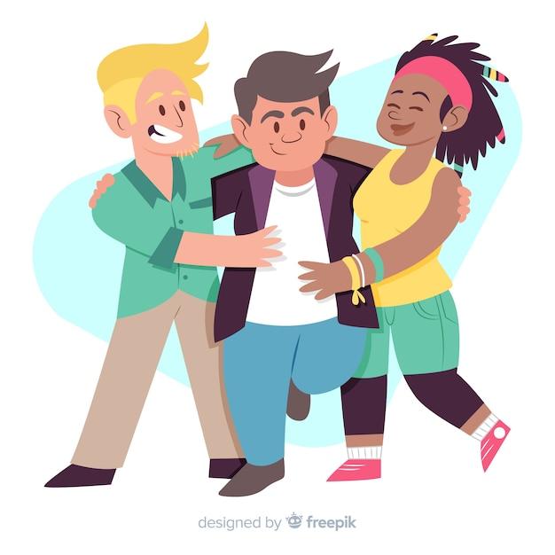 Pessoas, abraçando, para, dia juventude, conceito Vetor grátis