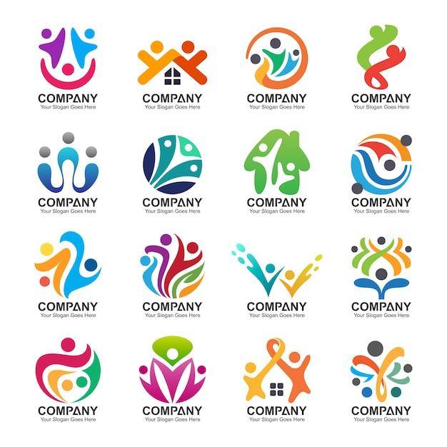 Pessoas abstratas e coleção de logotipo da família, ícones de pessoas, modelo de logotipo de saúde, símbolo de cuidados Vetor Premium