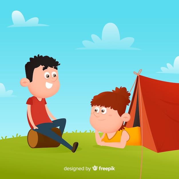 Pessoas, acampamento, mão, desenhado, estilo Vetor grátis