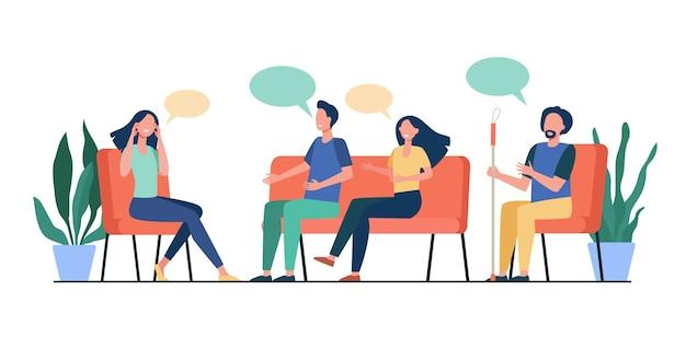 Pessoas aconselhando com ilustração vetorial plana isolado psicólogo. médico de desenho animado falando com pacientes em sessão de psicoterapeuta. terapia de grupo e conceito de dependência Vetor grátis