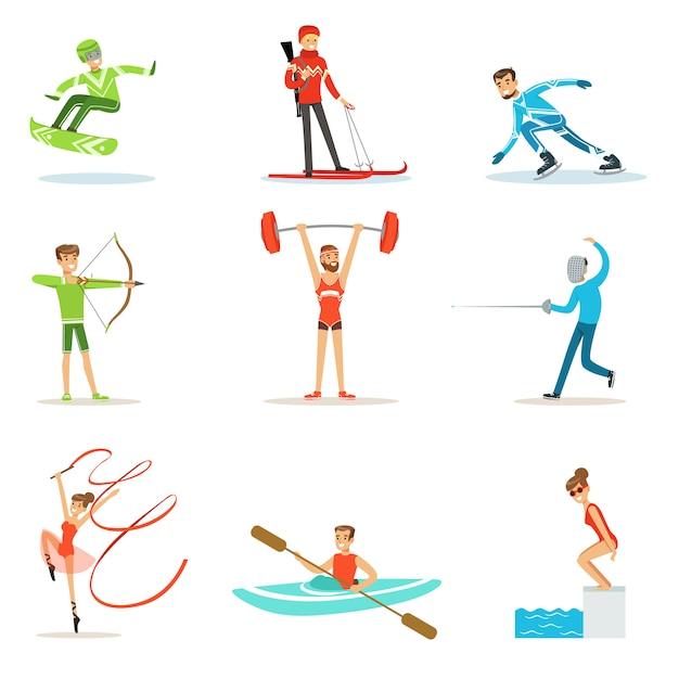 Pessoas adultas praticando esportes olímpicos diferentes conjunto de personagens de desenhos animados Vetor Premium