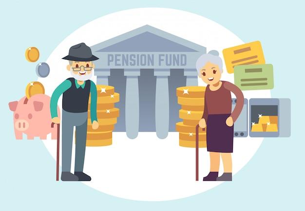 Pessoas adultas superiores felizes que salvar o dinheiro da pensão. personagens para plano de aposentadoria e conceito de vetor de programa de finanças pessoais Vetor Premium