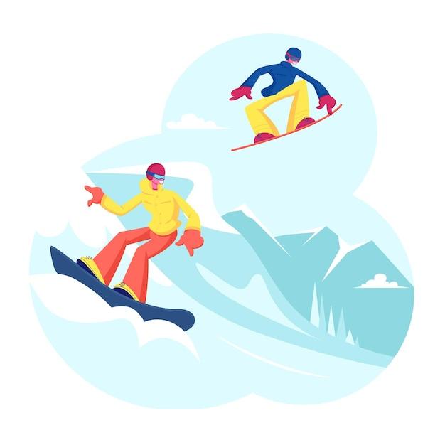 Pessoas adultas vestidas com roupas de inverno snowboard. ilustração plana dos desenhos animados Vetor Premium