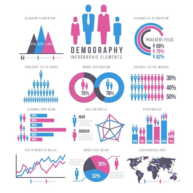 Pessoas, adultos e crianças, humanos, pessoas, família infográficos vector sinais e gráficos Vetor Premium