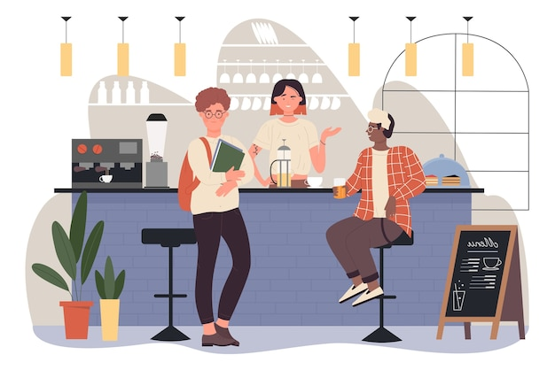 Pessoas amigos se encontrando em um bar ou café para tomar um café Vetor Premium