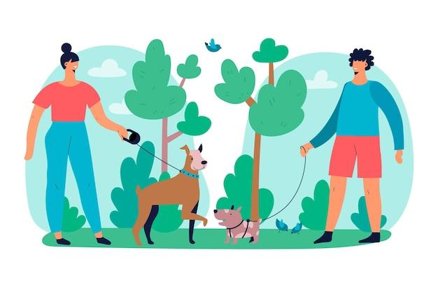 Pessoas andando com o tema da ilustração de cachorro Vetor grátis