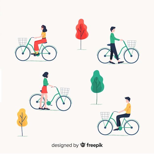 Pessoas andando de bicicleta na coleção parque Vetor grátis