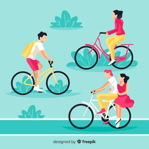 Pessoas andando de bicicleta no parque conjunto Vetor grátis