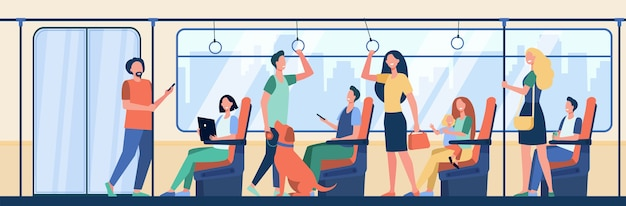 Pessoas andando de trem do metrô. viajantes sentados e em pé na carruagem. ilustração vetorial para passageiros de metrô, deslocamento diário, conceito de transporte público Vetor grátis