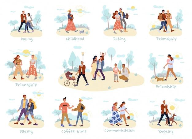 Pessoas andando, passam tempo juntos conjunto ao ar livre Vetor Premium