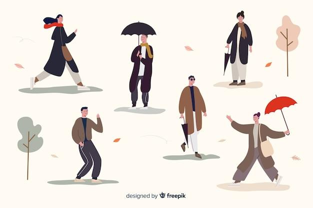 Pessoas, andar, em, outono, collectio Vetor grátis