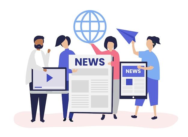 Pessoas apresentando diferentes tipos de formas de acessar notícias Vetor grátis
