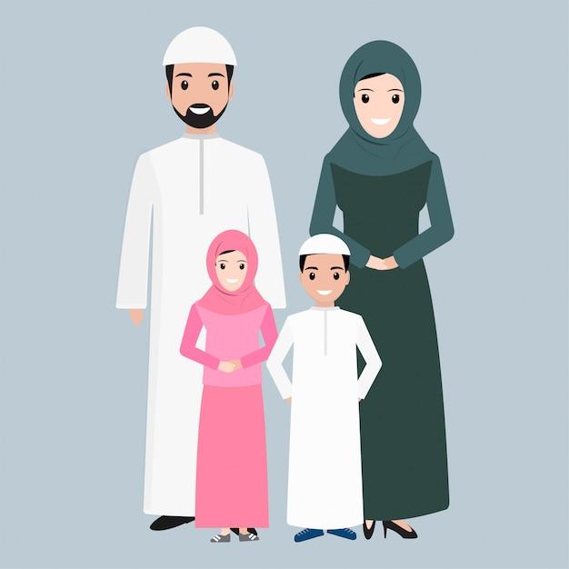 Pessoas árabes, ícone de pessoas muçulmanas Vetor Premium