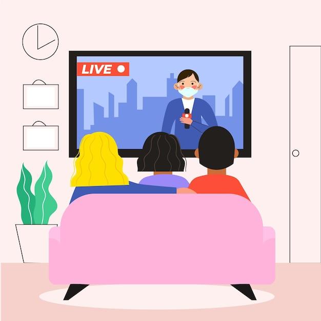 Pessoas assistindo as notícias Vetor grátis