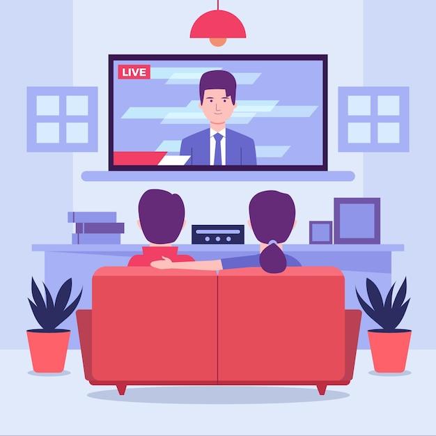 Pessoas assistindo as notícias Vetor Premium