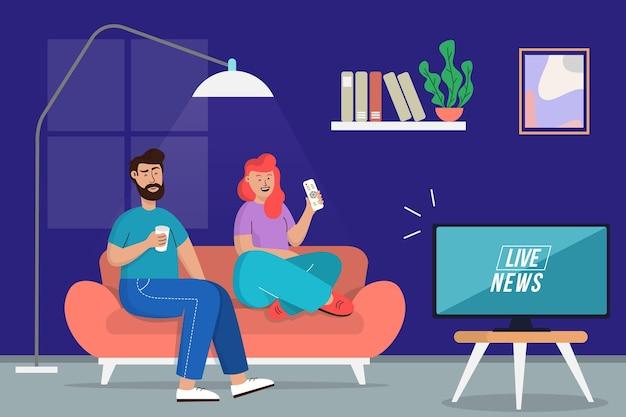 Pessoas assistindo juntos as notícias Vetor grátis
