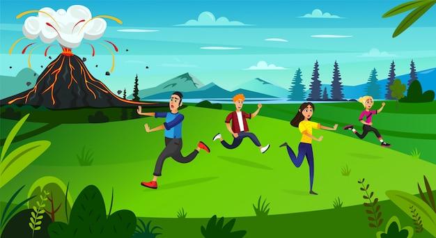Pessoas assustadoras dos desenhos animados correm em erupção da montanha do vulcão Vetor Premium