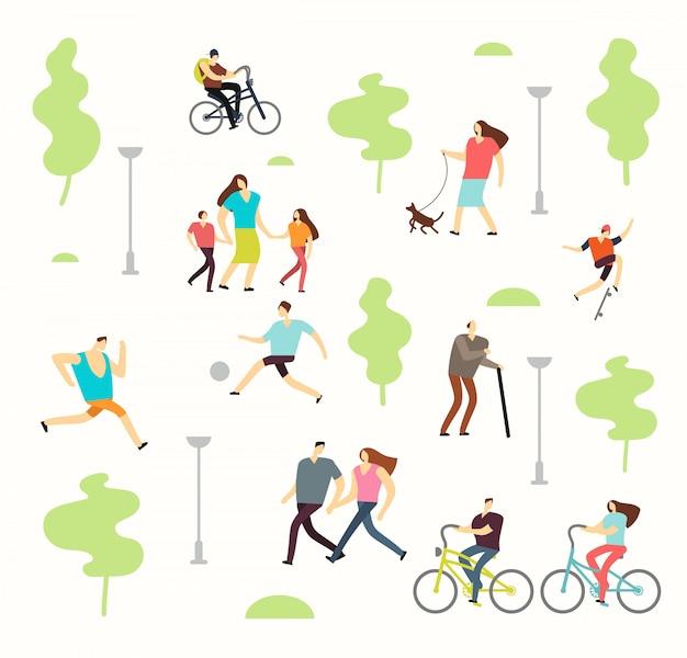 Pessoas ativas felizes em vários estilos de vida no parque primavera com árvores. homem mulher, andar, ao ar livre Vetor Premium
