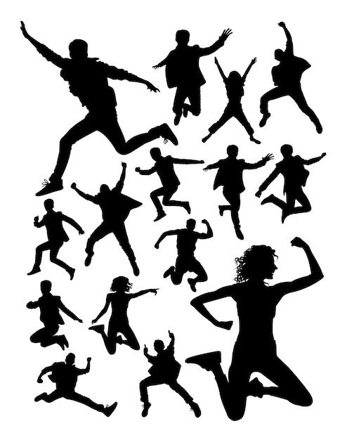 Pessoas ativas pulando silhueta Vetor Premium