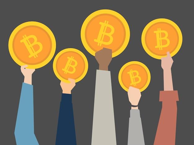 Pessoas, atrasando, cryptocurrency, ilustração Vetor grátis