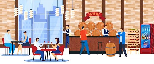 Pessoas bebem ilustração vetorial de vinho. Vetor Premium