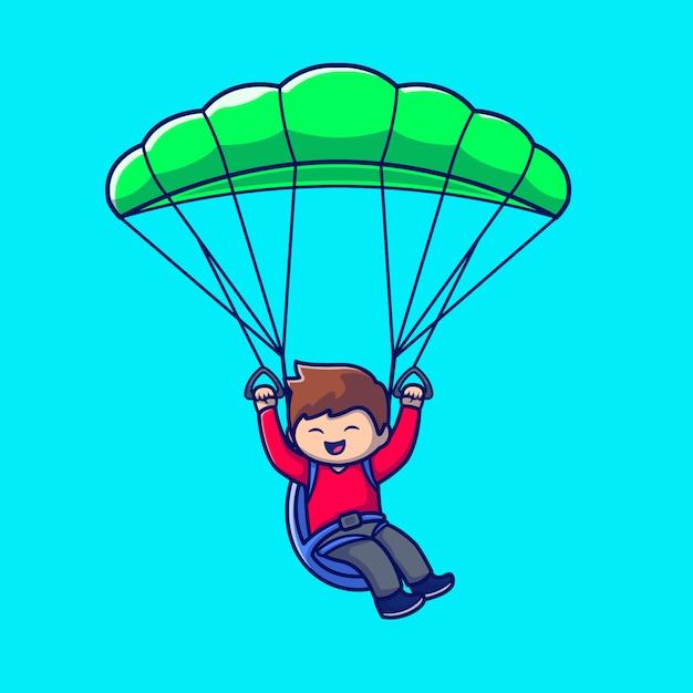 Pessoas bonitos jogando parapente cartoon icon ilustração. pessoas esporte ícone conceito isolado premium. estilo cartoon plana Vetor Premium