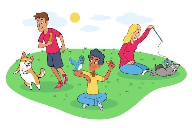 Pessoas brincando com seus animais de estimação Vetor grátis