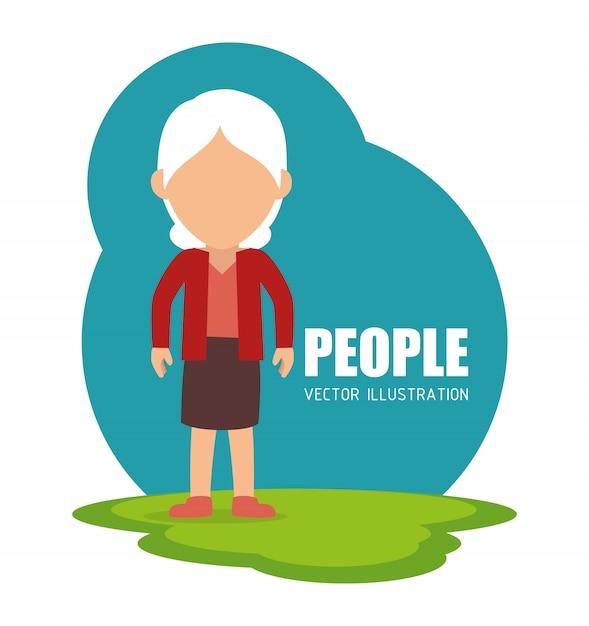 Pessoas, caricatura, gráfico Vetor Premium