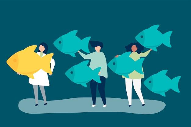 Pessoas carregando ícones de peixe no conceito de liderança Vetor grátis