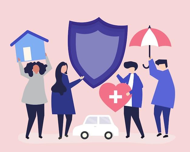 Pessoas carregando ícones relacionados ao seguro Vetor grátis