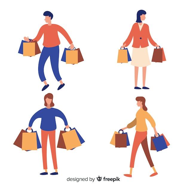 Pessoas carregando sacolas de compras Vetor grátis