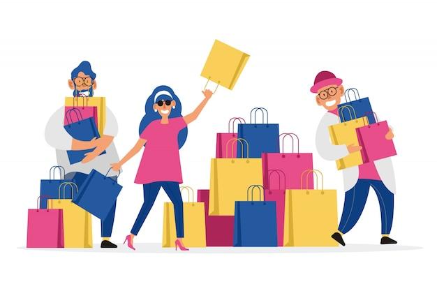 Pessoas carregando sacolas de compras Vetor Premium