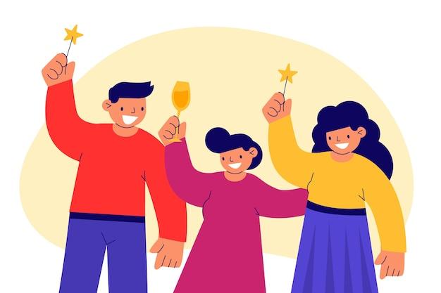 Pessoas celebrando juntos conceito Vetor grátis
