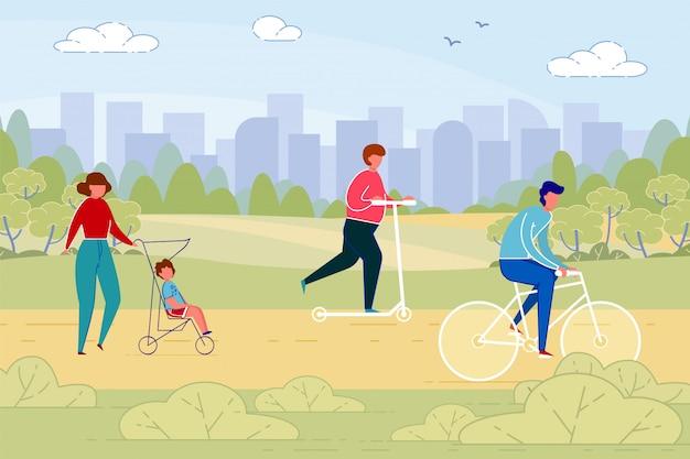Pessoas, cidadãos urbanos no parque no dia do fim de semana. Vetor Premium