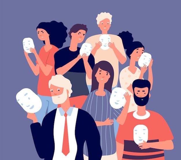 Pessoas cobrindo rostos com máscaras. grupo de pessoas esconde a emoção negativa do rosto atrás de uma máscara positiva, o falso conceito de vetor de individualidade. ilustração hipocrisia anônima, escondendo sinceridade e ilusão Vetor Premium